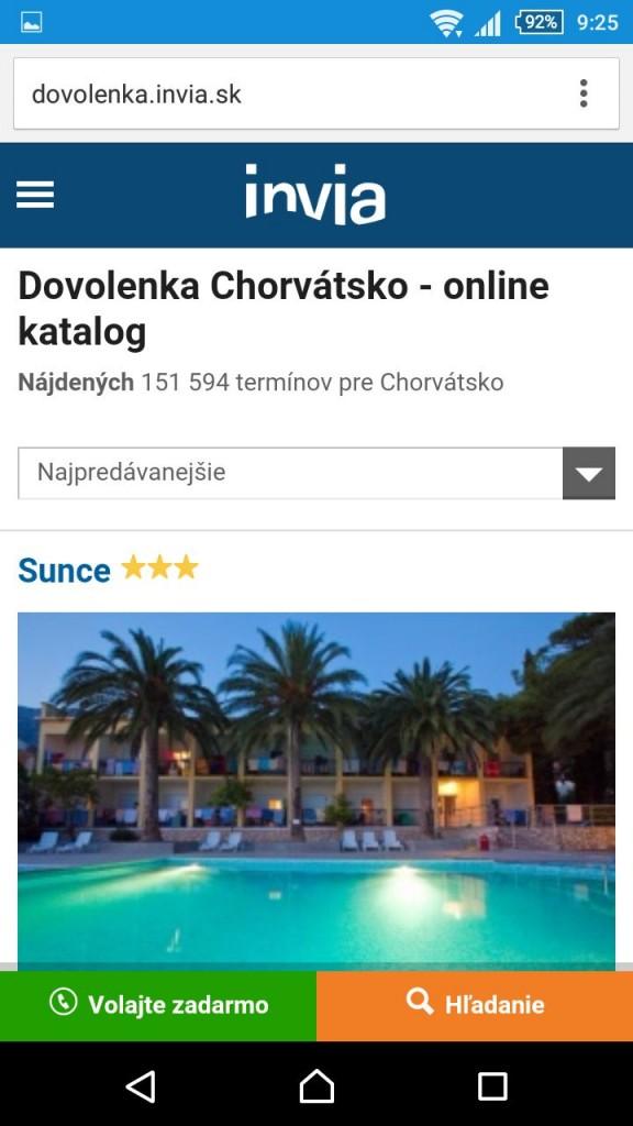 invia.sk jediný z testovaných ponúkal prezeranie webu bez kompromisov