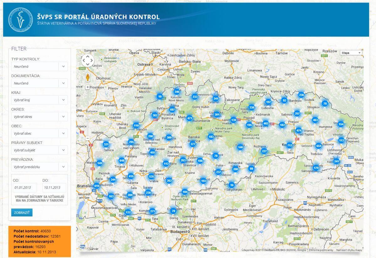mapa výsledkov kontrol v prevádzkach alebo počas prepravy, Portál Úradnej Kontroly