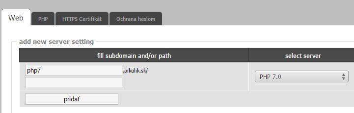 nastavujeme PHP7 pre adresár s WordPress