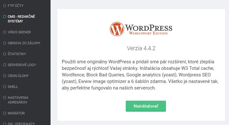 WordPress inštalácia cez admin vo Websupport